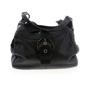 Coach Purse Classic Black Leather HOBO Bag EUC